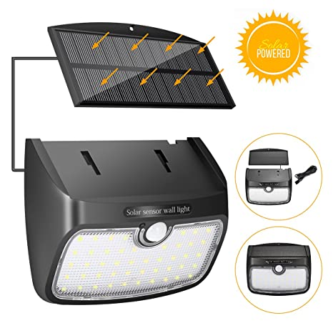 Lámpara de Pared Solar, SGODDE Lámpara de Seguridad Solar Sensor de Movimiento, Luz Solar