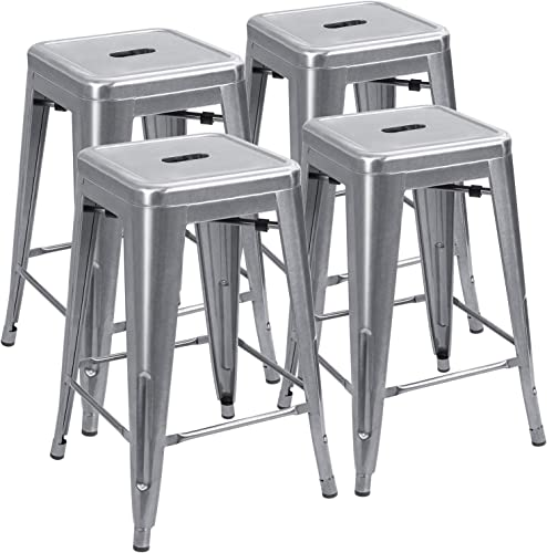 JUMMICO Metal Bar Stool 24 Inches Indoor Outdoor Industrial Barstools Stackable Counter Height Modern Vintage Backless Bar Stools Set of 4 Silver