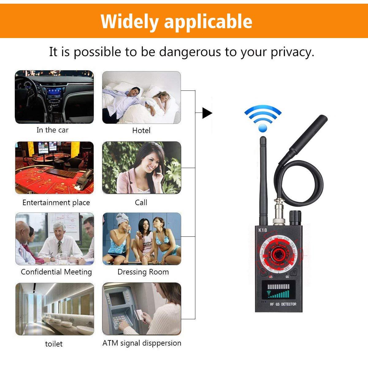 Anti Spy Detector, RF Detector Camera Finder, Bug Detector, Upgraded RF Signal Detector, KORKUAN GSM Tracking Device for Wireless Audio Bug Hidden Camera Detector