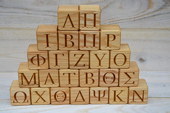 Amazon com: 24 Greek Alphabet Wood Blocks - ABC Wood Block