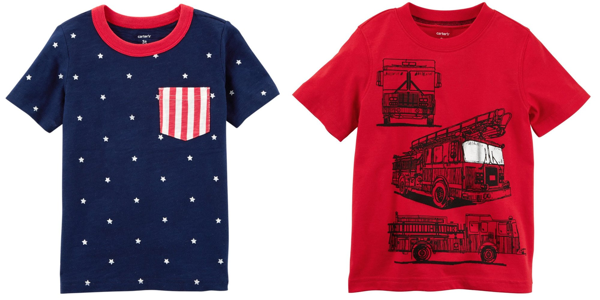 Carter's Boy's Set of 2 Cotton T-Shirts Toddler Little and Big Boys (4T, Navy 4th of July and Red Fire Engine)