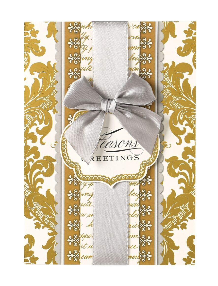 Gold Foil Damask Handmade Dimensional HolidayCards With Ribbon by Anna Griffin (GC648)