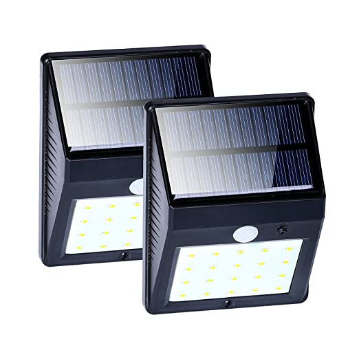 Solar Motion Sensor Lights, 20 LED Outdoor Waterproof Security Flood Night Lights for Garden Back Door Patio Backyard Stairs Landscape, Porch Lights with Auto On/Off ( 2-Pack )