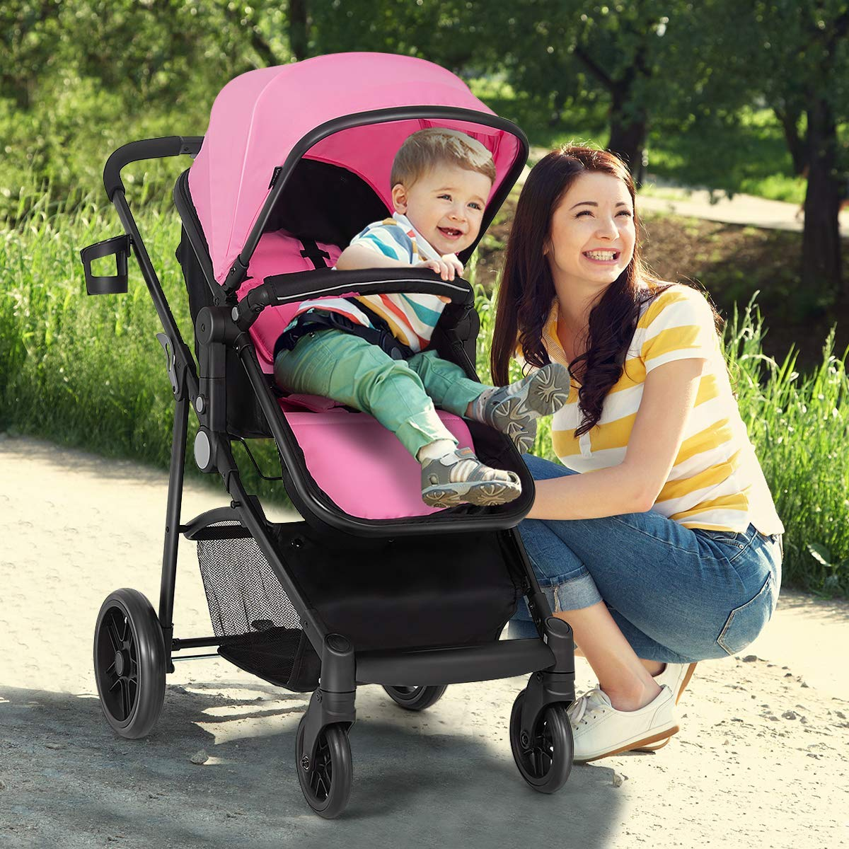 Costzon Baby Stroller, 2 in 1 Convertible Carriage Bassinet to Stroller, Pushchair with Foot Cover, Cup Holder, Large Storage Space, Wheels Suspension, 5-Point Harness (Pink Color) by Costzon (Image #3)