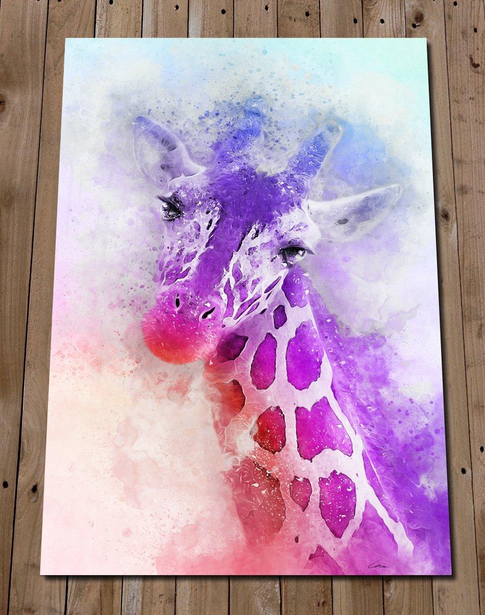 Amazon Com Purple Giraffe Head Print Colorful Wall Art Watercolor Painting Gift Idea Safari Nursery Decor Poster Animal Lover Handmade