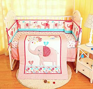 BabyCrib Unique Cute Adorable, Elephant and Bird, Pink and Blue, Flowers, 10 Piece Bedding Set, Including Crib Bumper, Diaper Stacker, and Bonus Baby Monthly Milestone Blanket for Newborn Baby Girl.