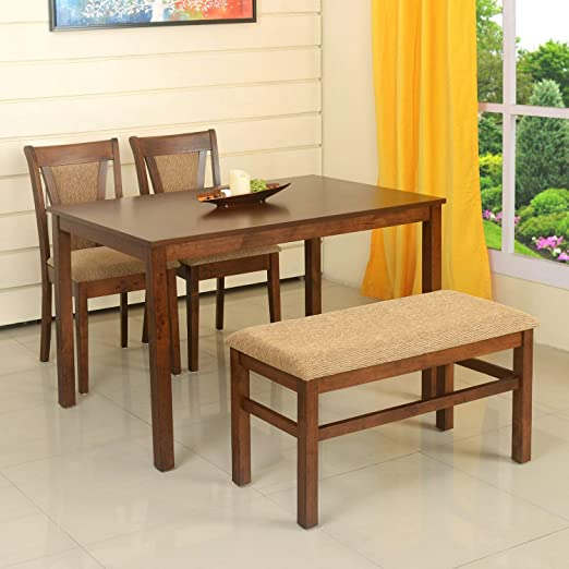 @home by Nilkamal Jewel 4 Seater Dining Table Set  Walnut  Dining Room Sets