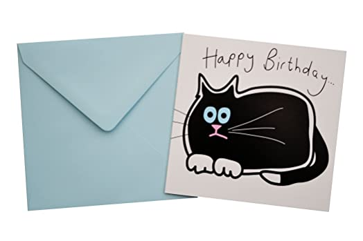 BLACK Cat Birthday Card Blue envelope Amazoncouk Kitchen Home – Birthday Cards Cats