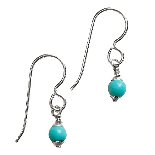 Sterling Silver Drop Earrings with Turquoise Beads