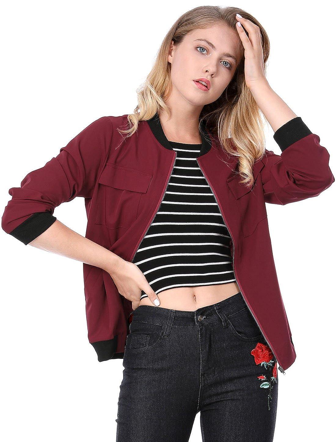 Allegra K Women's Zip Up Pocket Lightweight Classic Bomber Jacket g16061500ux0033