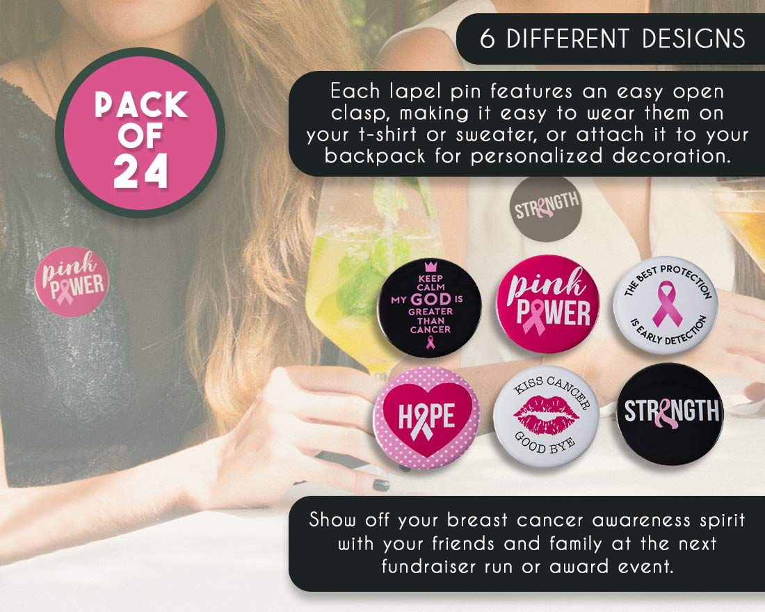24-Pack Pink Ribbon Round Buttons Public Event Fundraiser 2.25 Inches Survivor Campaign Breast Cancer Awareness Buttons Pinback Buttons in 6 Various Designs for Charity Recognition Marathon