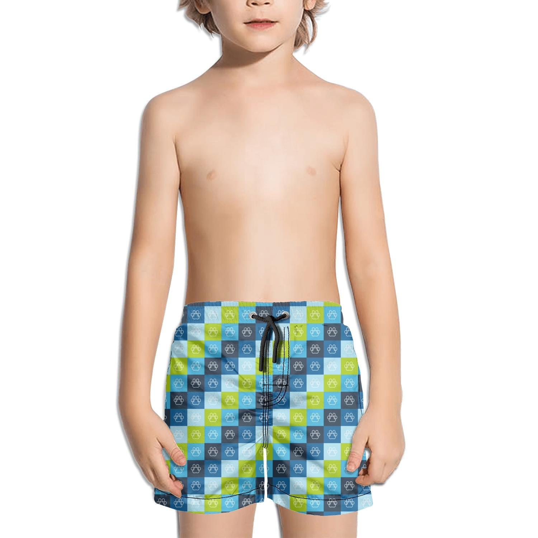 Websi Wihey Boy's Quick Dry Swim Trunks Colourfor Cats Footprint Blue Black Background Fashione Shorts