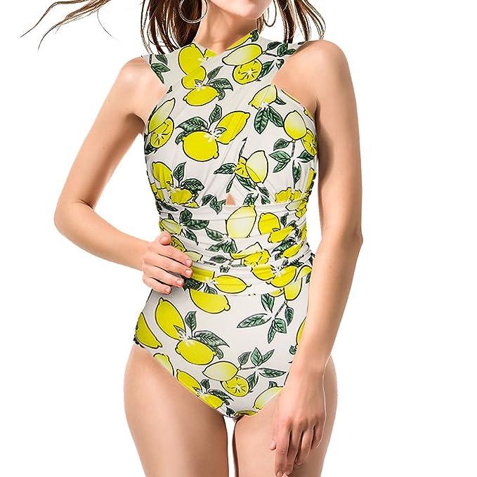 f0c0de6d10a13 Blazar Women s Monokini Swimsuit One Piece Plus Size Swimming Bathing Suits  Costume Deep V Cross Tummy
