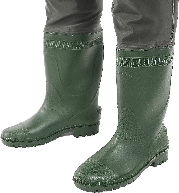 Surepromise Angelhose PVC Wathose Teichhose mit Stiefel Schuhe Wasserdicht 42-44