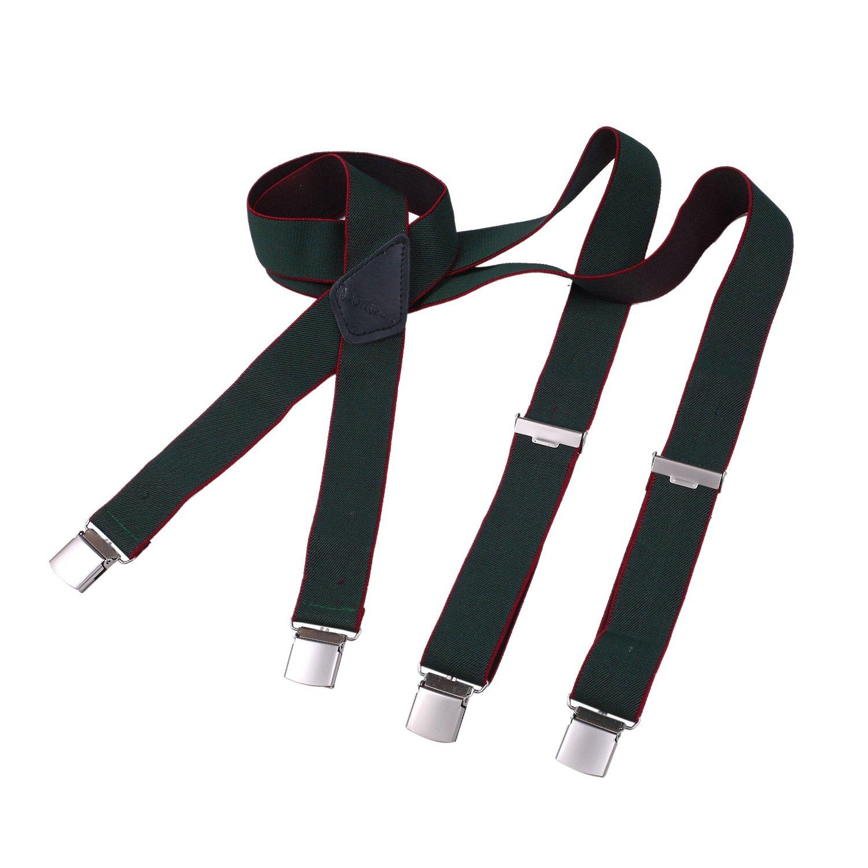 DonDon Bretelle uomo larghezza 3,5 cm con 4 resistenti clip a X cucite