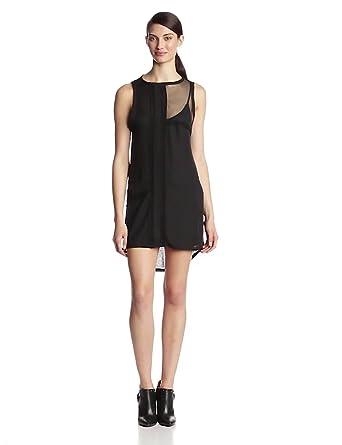 Heather Women's Silk Collage Mini Dress, Black, Petite