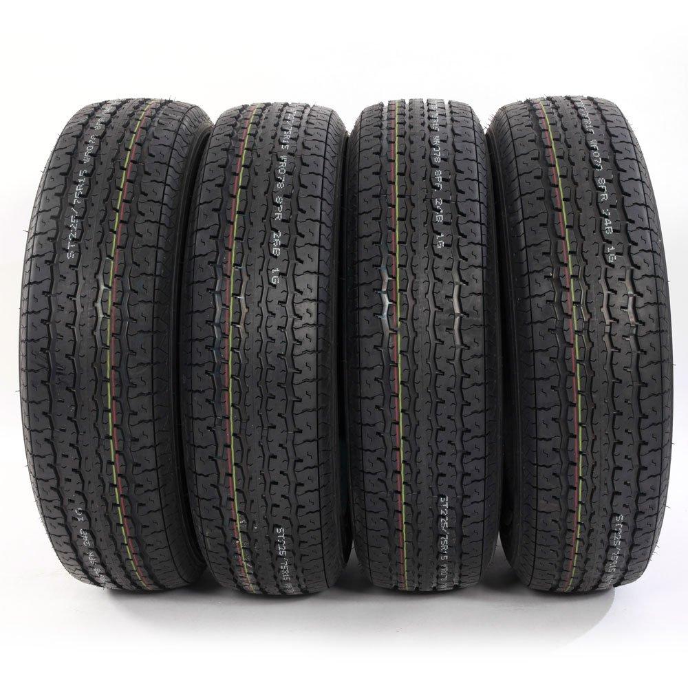 Set of 4 ST225/75R15 ST225/75-15 Radial Trailer Tires 8PR Load Range D