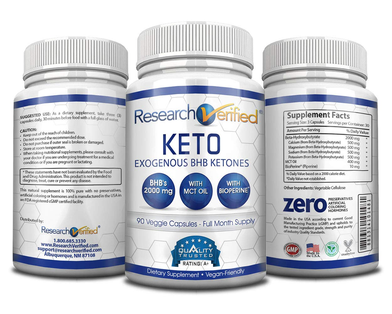 Research Verified Keto - Vegan Keto Supplement with 4 Exogenous Ketone Salts (Calcium, Sodium, Magnesium and Potassium) and MCT Oil to Boost Energy, Weight Loss and Focus in Ketosis - 6 Bottles by Research Verified (Image #4)