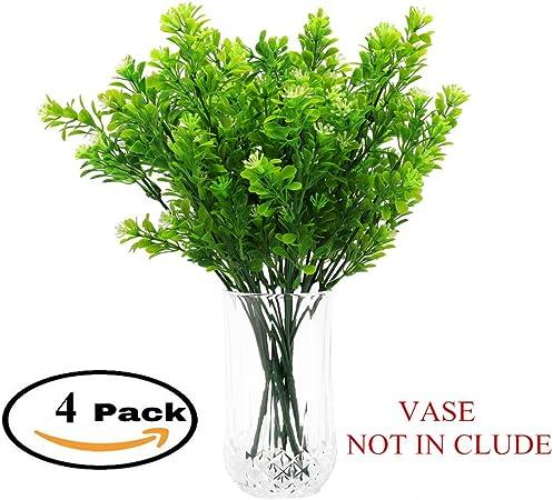 Sintética Plástico Verde Plantas en macetas: z-liant Pack de 4 ...