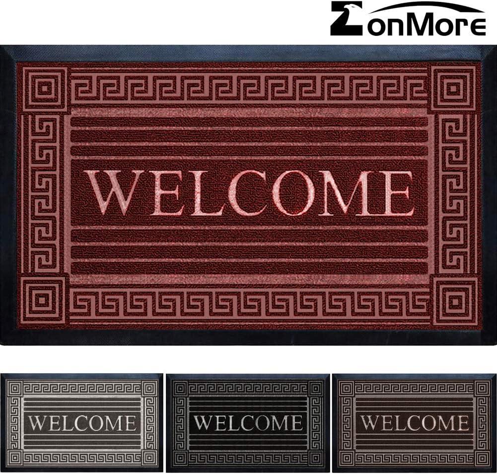 "Extremely Durable Doormat - 17"" x 29.5"" - Outdoor Door Mat Welcome Non Slip with Rubber Backing - Low-Profile Heavy Duty Door Mats - Easy Clean Door Mat for Entrance, Patio, High Traffic Areas"