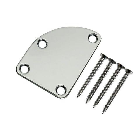 Placa de mástil cuadrada para guitarra eléctrica, cromado