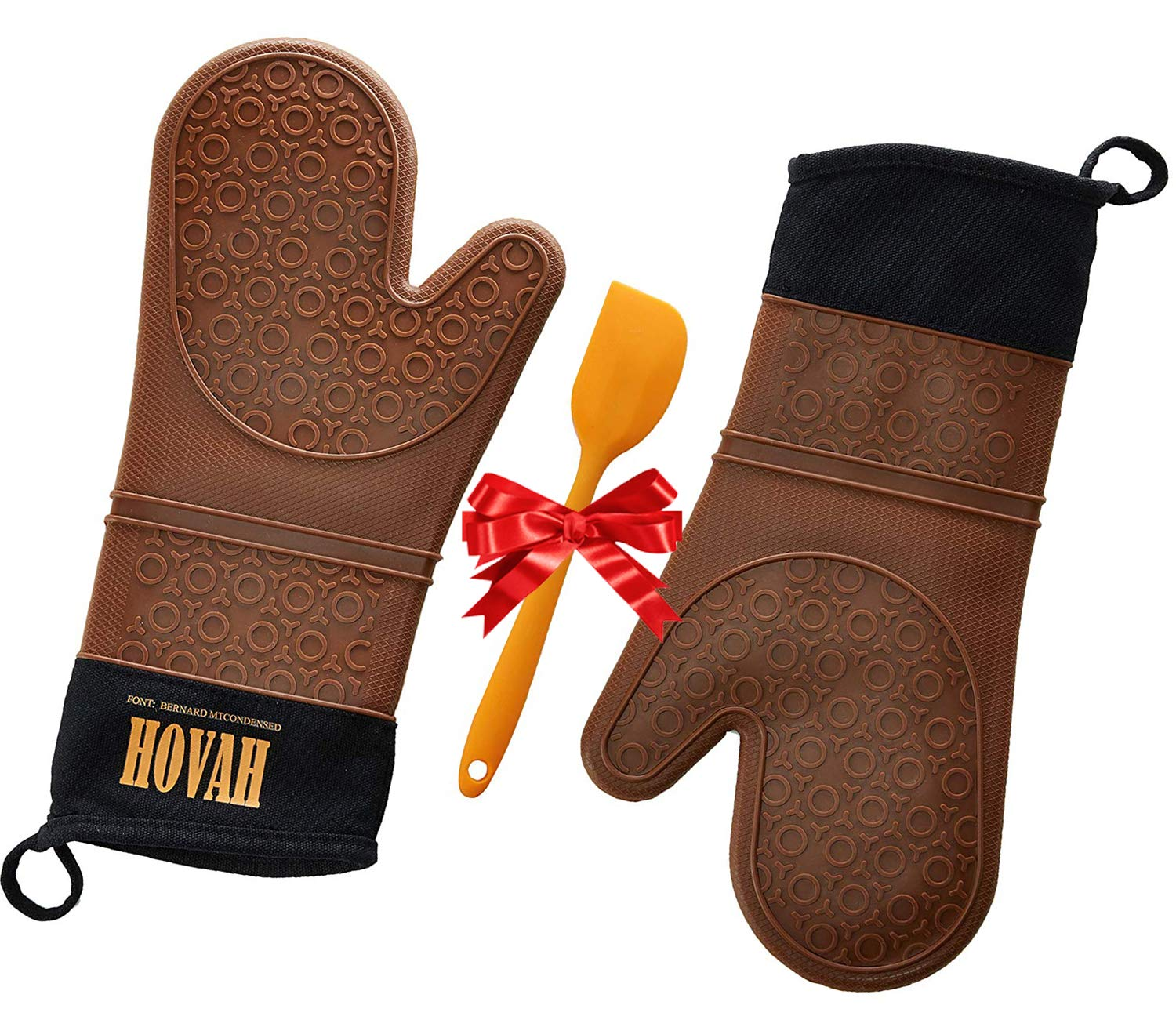 Hovah Professional Oven Mitts, Multipurpose, Grill, BBQ, Baking, Broil, Cooking, Extra Long,Nonslip, Heat Resistant,Silicone,Cotton,Lining,Comfortable,Secure,Safe,Protective,Waterproof,Outdoor