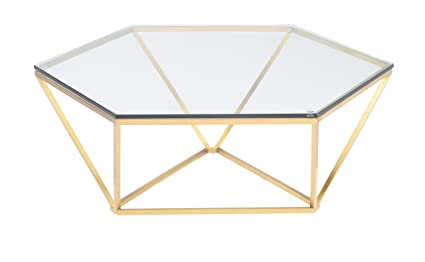 Surprising Amazon Com Nuevo Louisa Coffee Table In Clear And Gold Andrewgaddart Wooden Chair Designs For Living Room Andrewgaddartcom