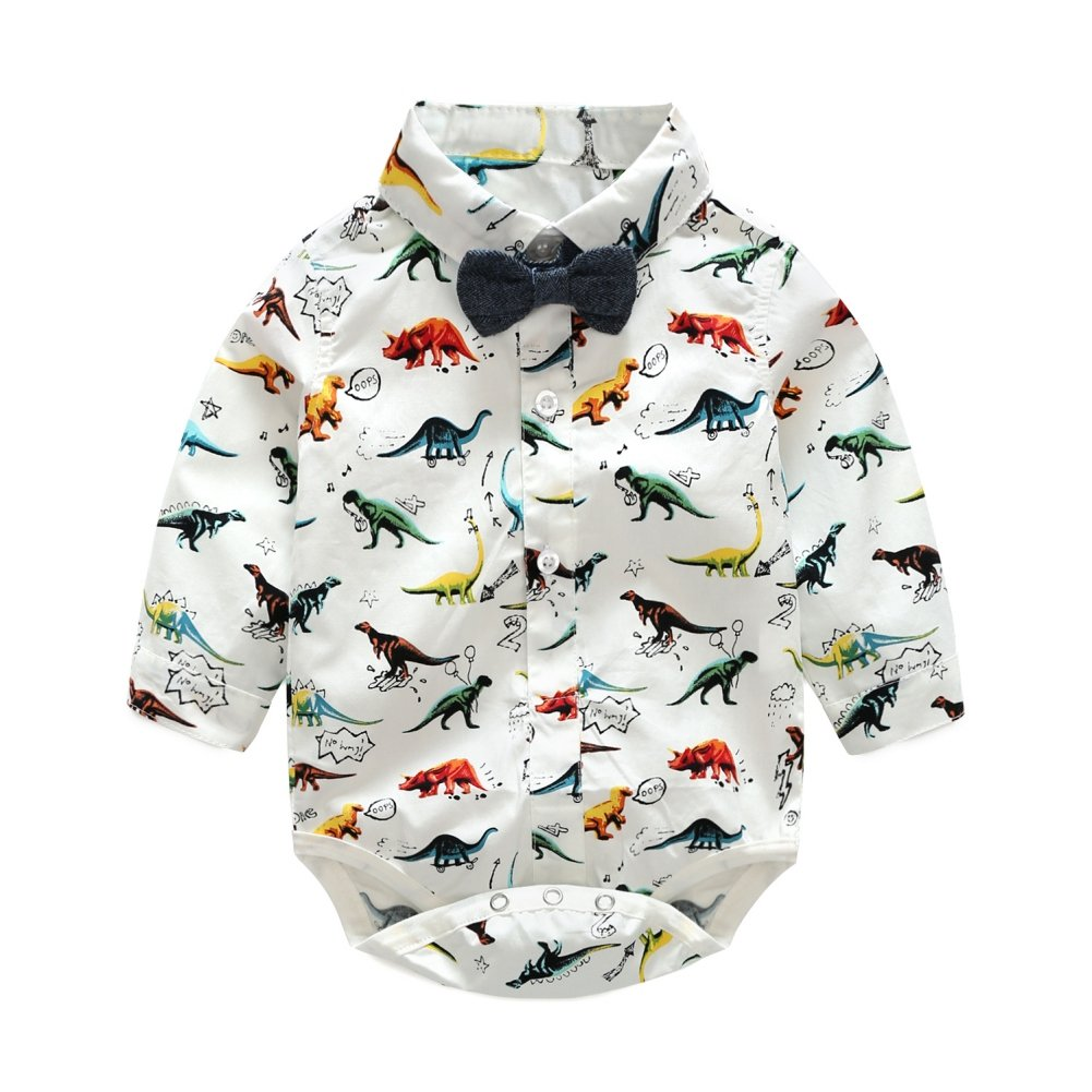 BOBORA Boys Summer Short Sleeve Dinosaur Printed T-Shirt Kids Polo Shirt 1-6Years Old BON-N-1691