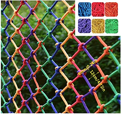 TorchJPA Color Protection Net Polyester//Nylon Material Stair Guardrail Anti-Fall Net Hanging Suspended Ceiling Climbing Net Household Nylon Rope Net Safe Net Rope Net Color : Green, Size : 4mm//6CM