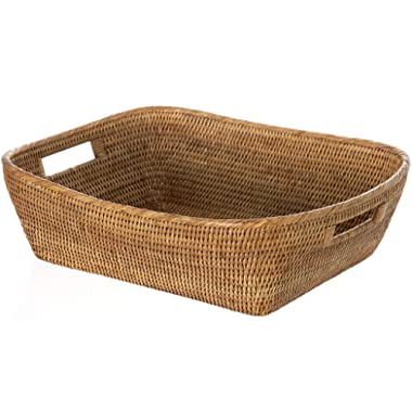KOUBOO 1060076 La Jolla Oblong Rattan Storage and Shelf Basket, 19  x 15  x 5 , Honey-Brown
