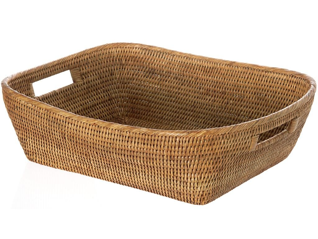 "KOUBOO 1060076 La Jolla Oblong Rattan Storage and Shelf Basket, 19"" x 15"" x 5"", Honey-Brown - 19 inches long x 15 inches wide x 5 inches high Hand Woven from rattan Finished with a coating of clear lacquer - living-room-decor, living-room, baskets-storage - 71HBU5MQHhL -"