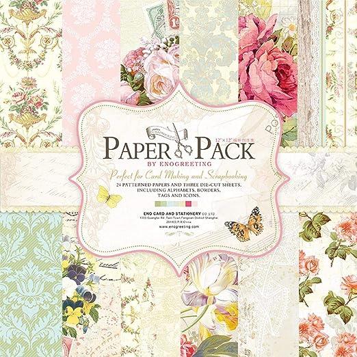 Eternitry 32 Hojas Scrapbook Fondo Papel Vintage Floral Base Colección Paquete de Papel Plegable Álbum de Fotos DIY Planner Niños Adultos Scrapbooking Craft Card 12