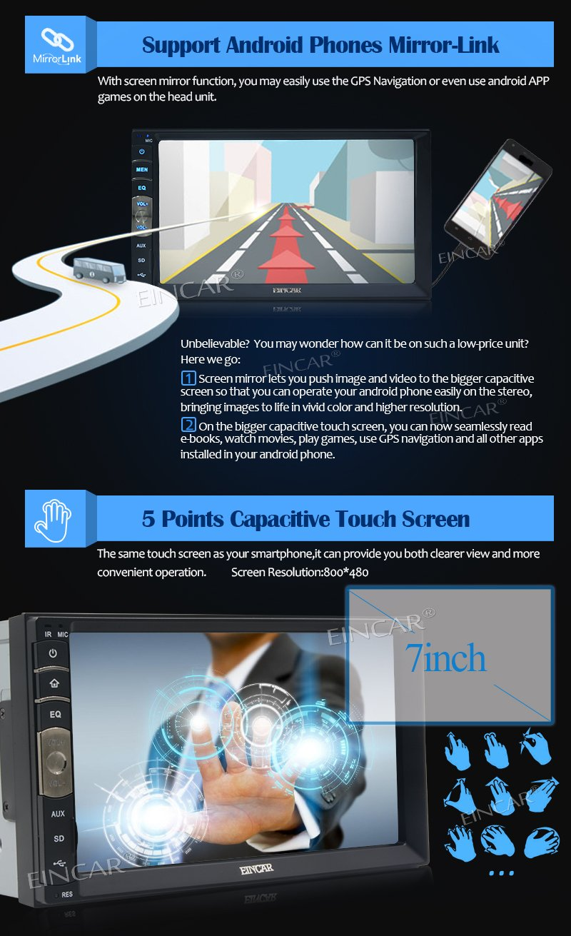 New Brand Upgarde Version 7 Inch Capacitive Touch Screen Audio (Mirror Link for GPS Android Phone) Double 2 Din Bluetooth Car Stereo In Dash Video Auto radio Without DVD Player+Rear View Camera by EinCar