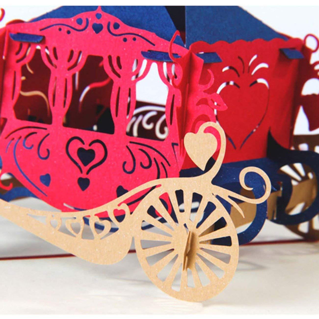 Amazon.com : 3D Pop Up Horse Carriage Shape Party Wedding Invitation ...