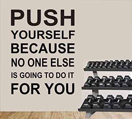 Amazon.com : Wall Quote Decals Push Yourself Gym Workout Quotes Wall ...