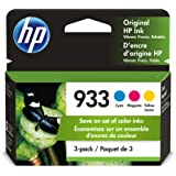 HP 933   3 Ink Cartridges   Cyan, Magenta, Yellow   Works with HP OfficeJet 6100, 6600, 6700, 7110, 7510, 7600 Series   CN058