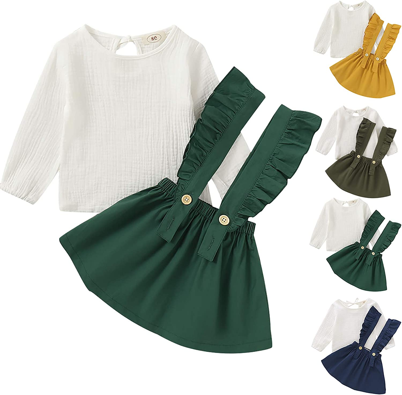 1-6 años Conjunto de Ropa de Moda para niñas bebés Conjunto de Vestido de Tirantes para niñas 2 Piezas