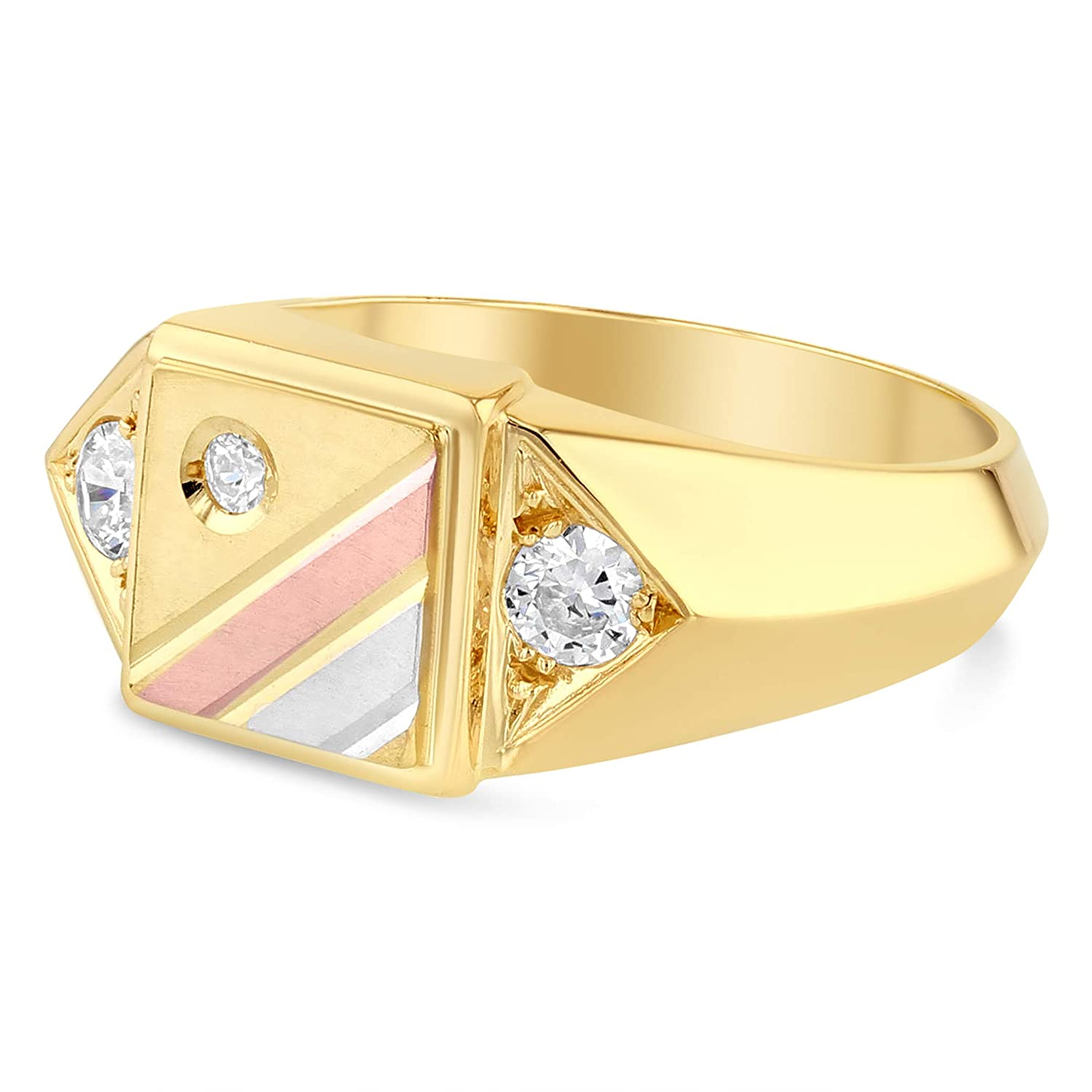 Ioka 14K Solid Yellow Gold CZ Square Ring