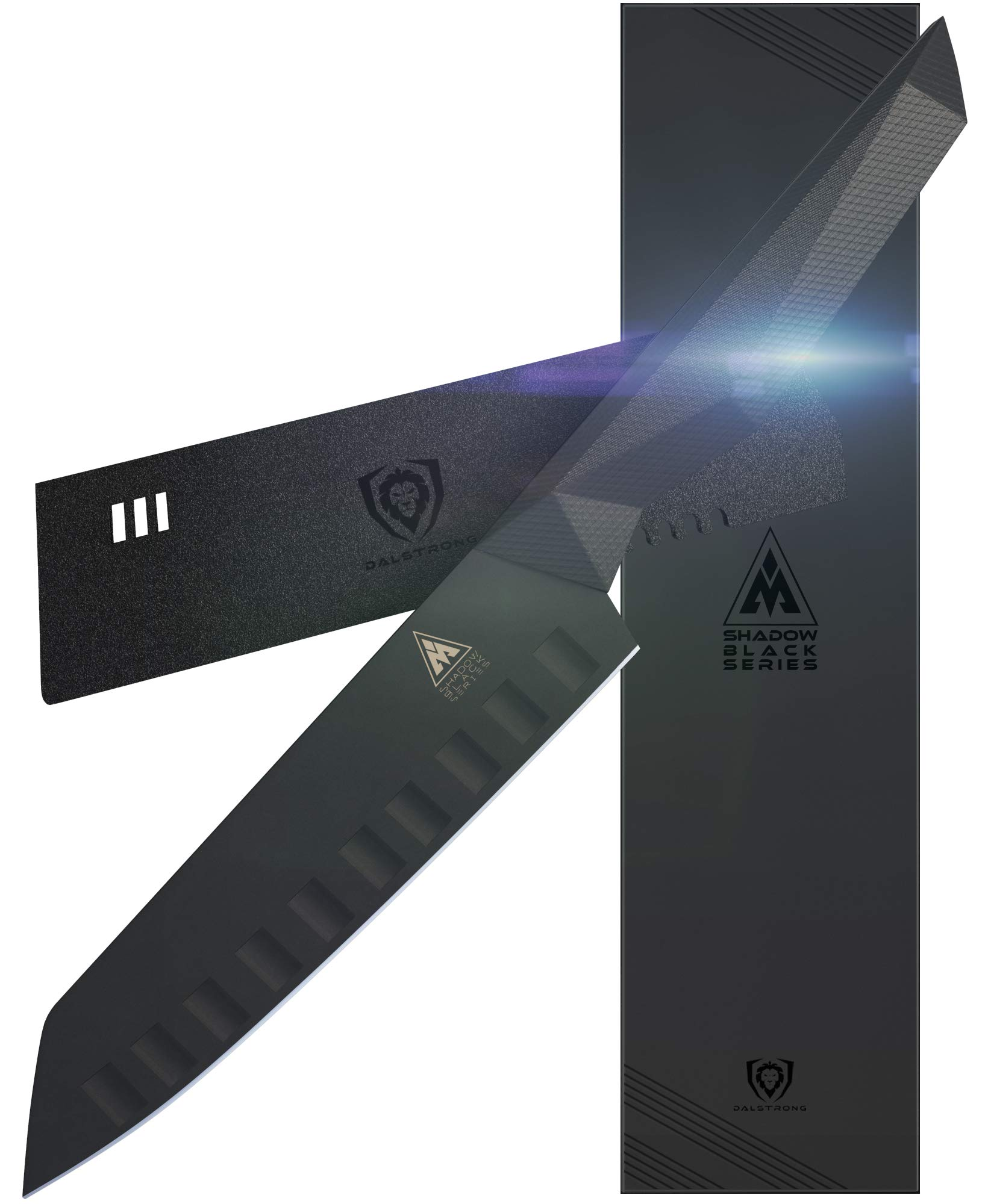 Dalstrong - Shadow Black Series - Black Titanium Nitride Coated - High Carbon - 7CR17MOV-X Vacuum Treated Steel- Sheath (7'' Santoku) - NSF Certified
