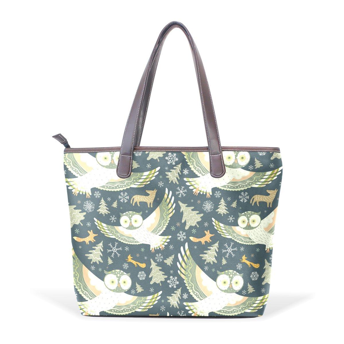 Owl Pattern Print Womens Fashion Large Tote Ladies Handbag Shoulder Bag