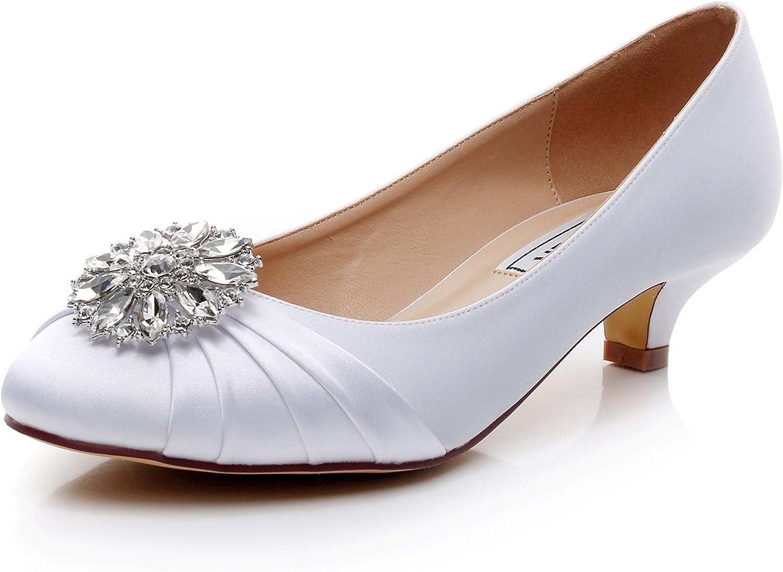 Amazon Com Luxveer Kitten Heel Satin Wedding Shoes Sexy Women