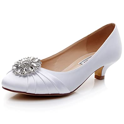 LUXVEER Satin White Wedding Shoes With Rhinestone Low Heel Women Shoes  1.2inch  2067