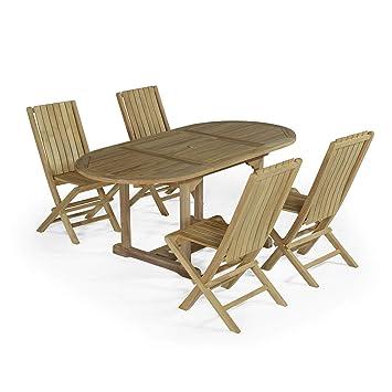 Salon de Jardin en Teck Ecograde Alizé, Table 1.20 à 1,8 m + ...