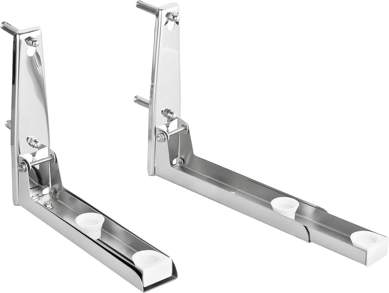 Soporte de pared para microondas con 4 ganchos de acero inoxidable, incluye material de montaje, soporte y base para la cocina. plata