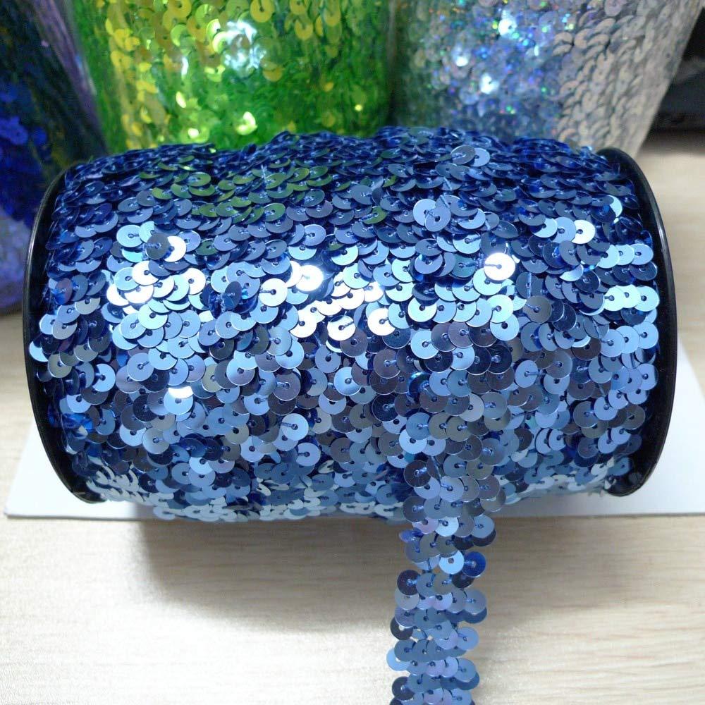 Jienie 36 Yards 2 Row 2cm Wide Blue Color Elastic Sequin Trim Wholesale Yiwu by Jienie