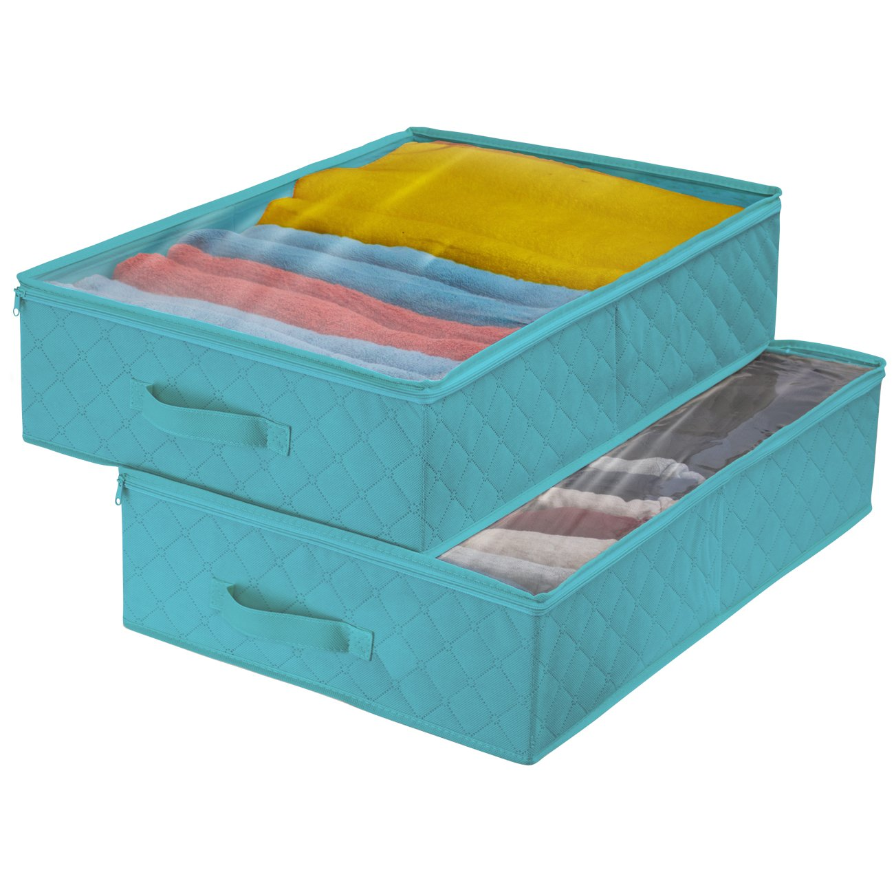 Sorbus Storage Bags Closet & Underbed Organizer Set, Clear Cover, Foldable with Carry Handles, Great for, Clothes, Linens, Bedding, Closets, Bedrooms, and more (2 Pack - One Compartment, Aqua)