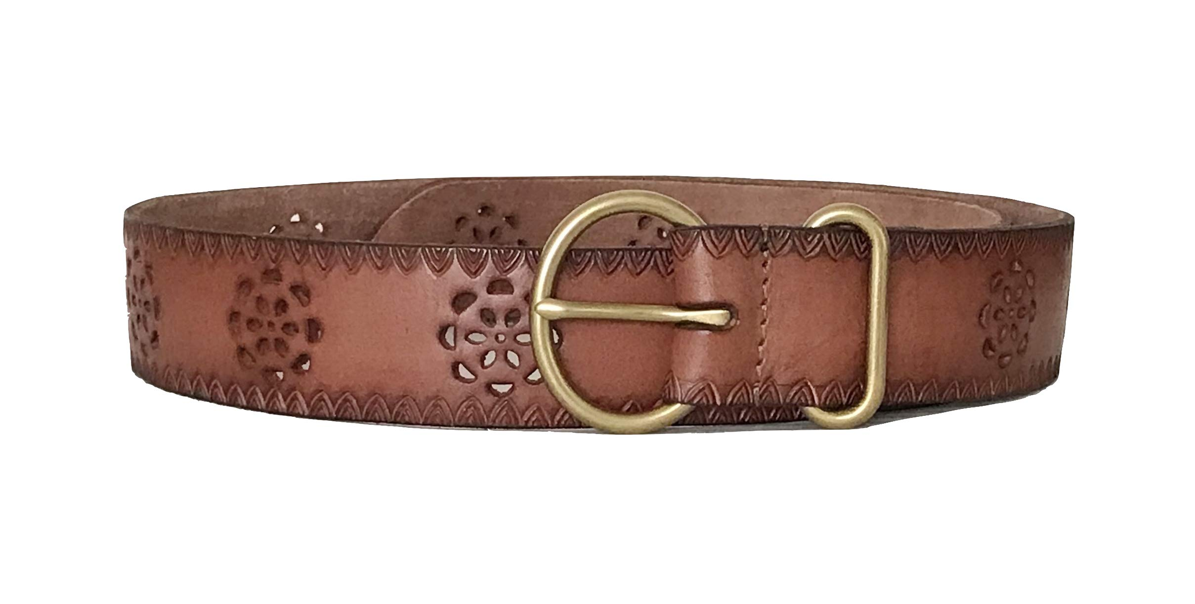 Lucky Brand - Women's - 1.5'' Floral Tool Perforated Cut-Out Brown Leather Belt (X-Large)