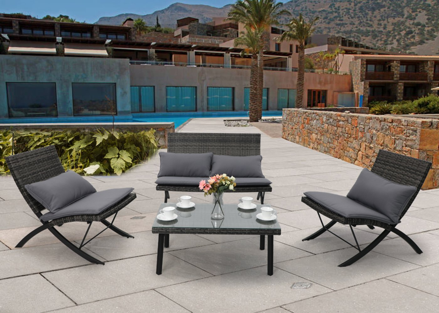 PHI VILLA 4-Piece Modern Conversation Set All Weather Cushioned Patio Furniture w/Loveseat, 2 Recliners Chair, Coffee Table - Charcoal