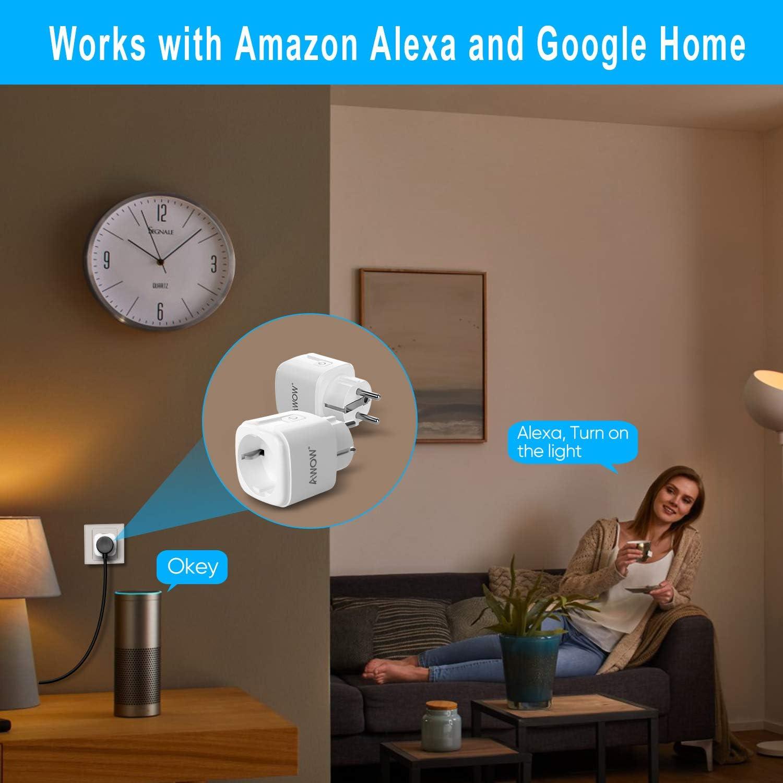 Minuterie t/él/écommande via Smart Life 16A 3680W 2,4GHz Fonctionne avec Alexa et Google Home Wi-Fi Pack de 4 Aucun Hub Requis AWOW Prise Intelligente vocale
