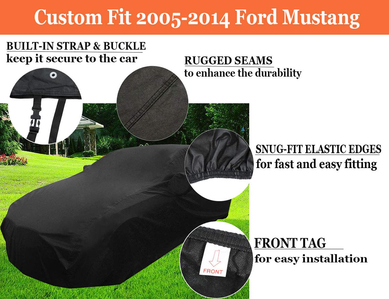 Durable Vehicle Cover for Indoor Garage Storage iiSPORT Scratch Proof Car Cover Custom Fit 2005-2014 Ford Mustang Last The Life of Vehicle 1-Year Warranty Windproof /& Dustproof
